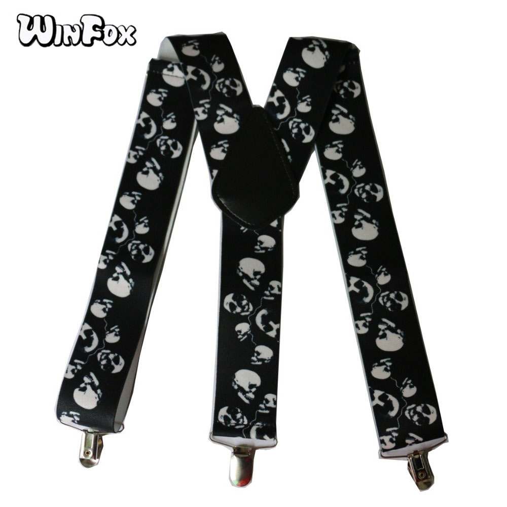 Winfox Free Shipping New Fashionable Mens 5CM Wide Black Y Back 3 Clips Halloween Skull Heavy Duty Suspenders Braces Mens image