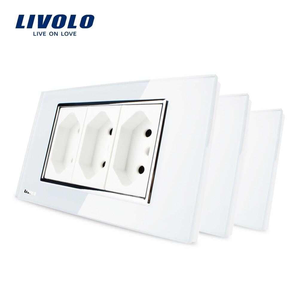 3 teile/los, Livolo 3 Pins Brasilianische/Italienische Standard Buchse, 10A, 250 v, mit Weiß Gehärtetem Glas Panel, C3C3BIT-81-BR