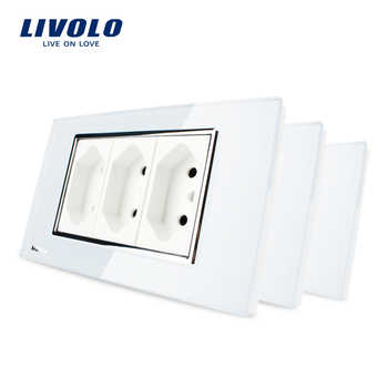 3pcs/lot, Livolo 3 Pins Brazilian/Italian Standard Socket, 10A, 250V, with White Tempered Glass Panel, C3C3BIT-81-BR - DISCOUNT ITEM  10% OFF All Category