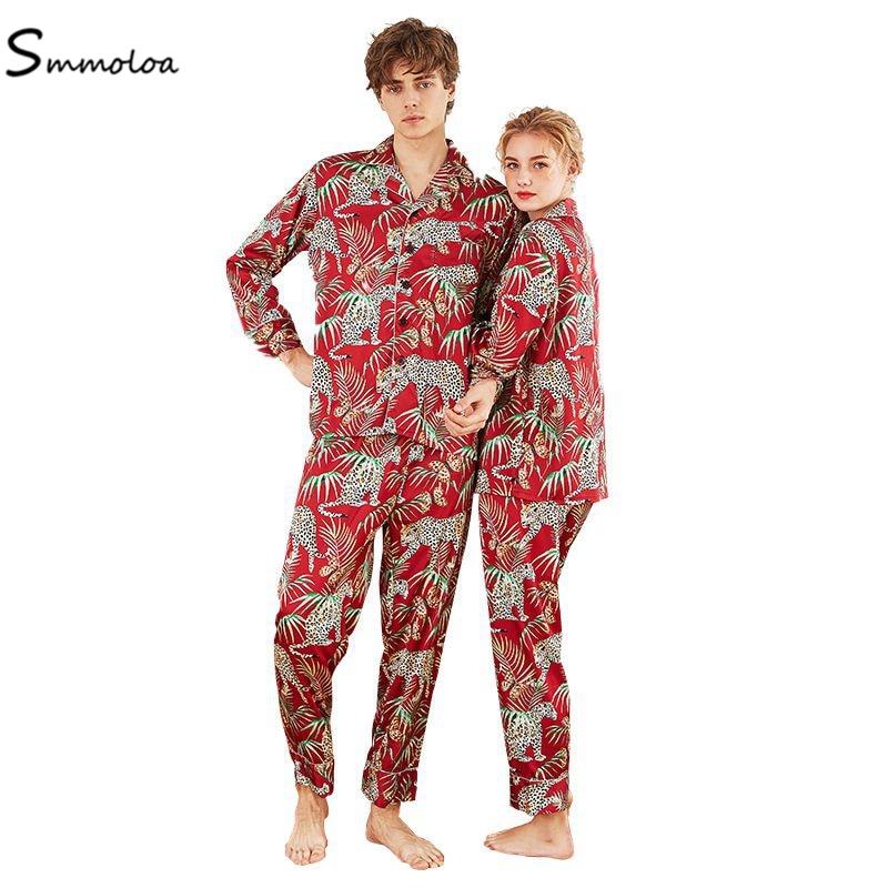 Smmoloa Couple Silk Pijamas Sets Long Sleeve Sleepwear Printing Sleepwear Soft Silk Satin Homewear