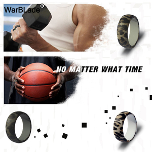 Image 5 - New Leopard Print Silicone Rings For Men Wedding Rubber Bands Hypoallergenic Flexible Sports Antibacterial Silicone Finger Ring