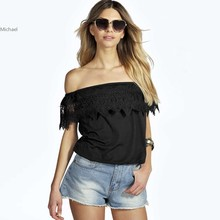 Stylish Lady font b Women s b font Fashion Casual Sexy Off shoulder Short Sleeve Lace