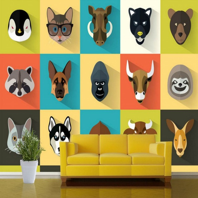 Custom 3d wallpaper Custom Kindergarten cute animal TV wall ...