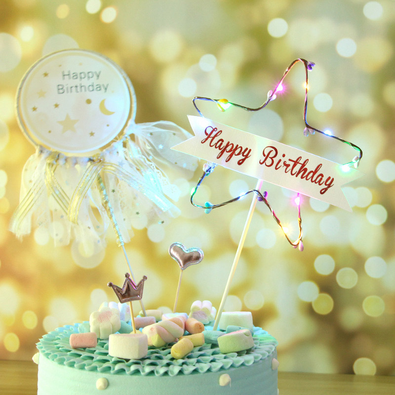 LED Flash Star Cupcake Cake Toppers Baby Shower Girl For Happy Birthday Topper Party Decoration Suppliers Decorating