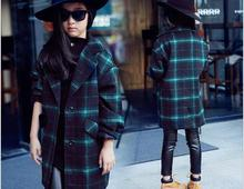 Girls Hot Child British Grid Quilted Casual Coat Wide Plaid Wool Outwear Kids Clothing Green