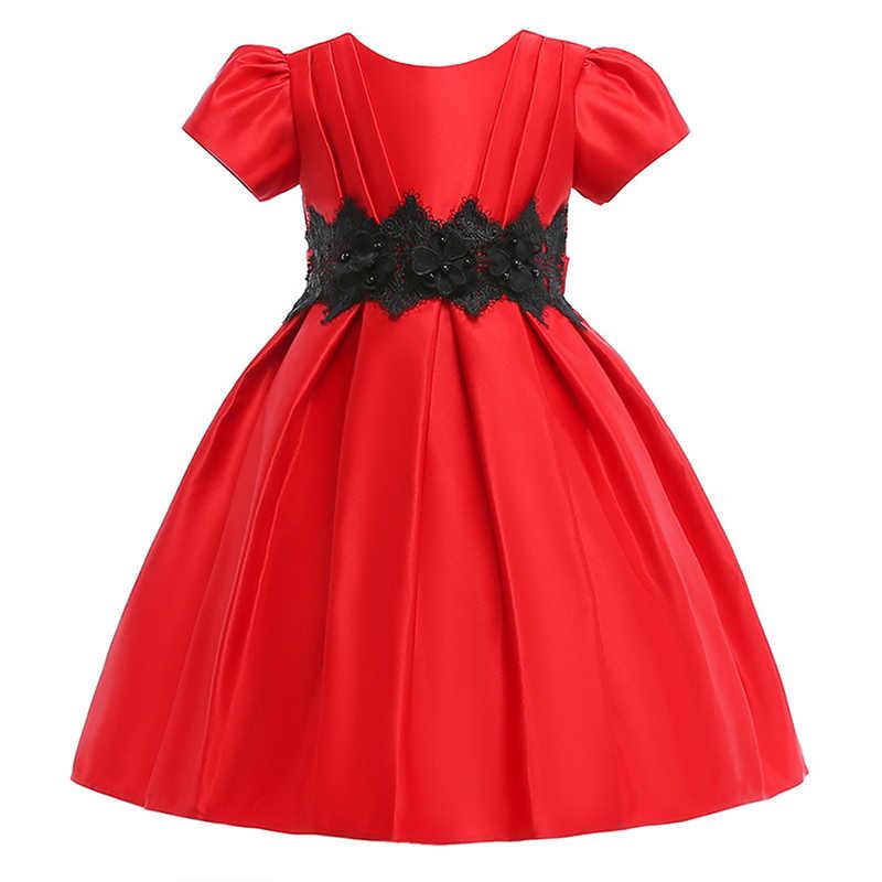 חדש הילדה של קצר שרוולים שמלת פרח פנינת ציפורן נסיכת שמלה שחור תחרה חגורת הבכור ילד מסיבת חתונת שמלה חדש שנה בד