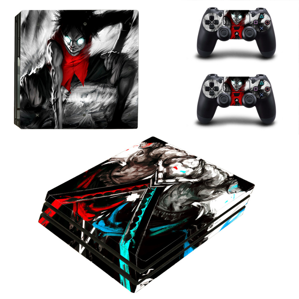 One Piece Luffy PS4 Pro Skin Sticker For Sony PlayStation 4 Pro Console and Controllers for Dualshock 4 PS4 Pro Stickers Decal