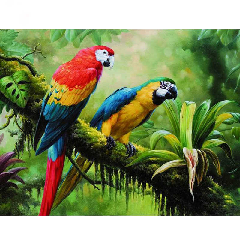 5D DIY Diamond Painting Colorful Macaws in the Rainforest Rhinestones  Painting Mosaic Full Square Diamond Embroidery sale Z1154