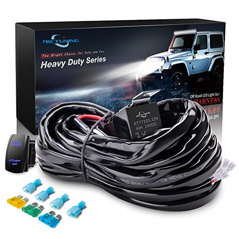 MICTUNING Auto LED Light Bar Wiring Harness Relay Kit 40 Amp On-Off Rocker Switch 2 Leads Car Styling for Led Work Driving Lamps