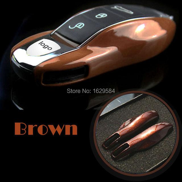 Color marrón Fishion Cubierta Del Caso Dominante Alejado Fob Case para Po rsche caimán boxster Cayenne 911
