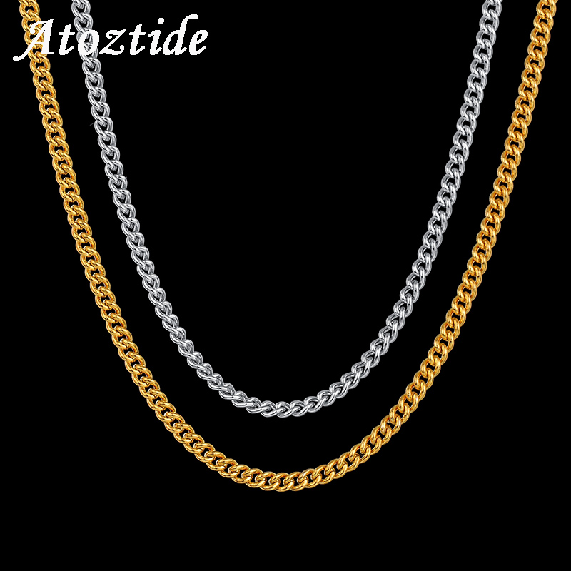 Atoztide 2mm 60cm Hiphop Stainless Steel Men's Side Chain Necklace Curb Cuban Gold Silver Color Link Chain For Male Party