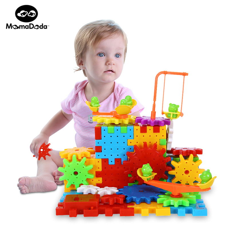 81 Pieces Electric Magic Gears Building Blocks Kits Plastic Funny Bricks Educational Toys For Children Kids Toy Christmas Gifts electric spider robot toy diy educational intelligence development assembles kids children puzzle action toys kits