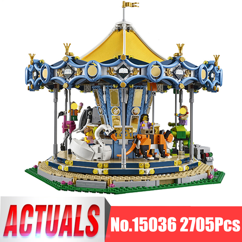 Lepin City Street Figures 15036 2705Pcs Carousel Model Building Kits Blocks Bricks Kids Toys For Children Compatible With 10257 compatible lepin city mini street view building blocks chinatown satin silk store with saleman figures toys for children gift