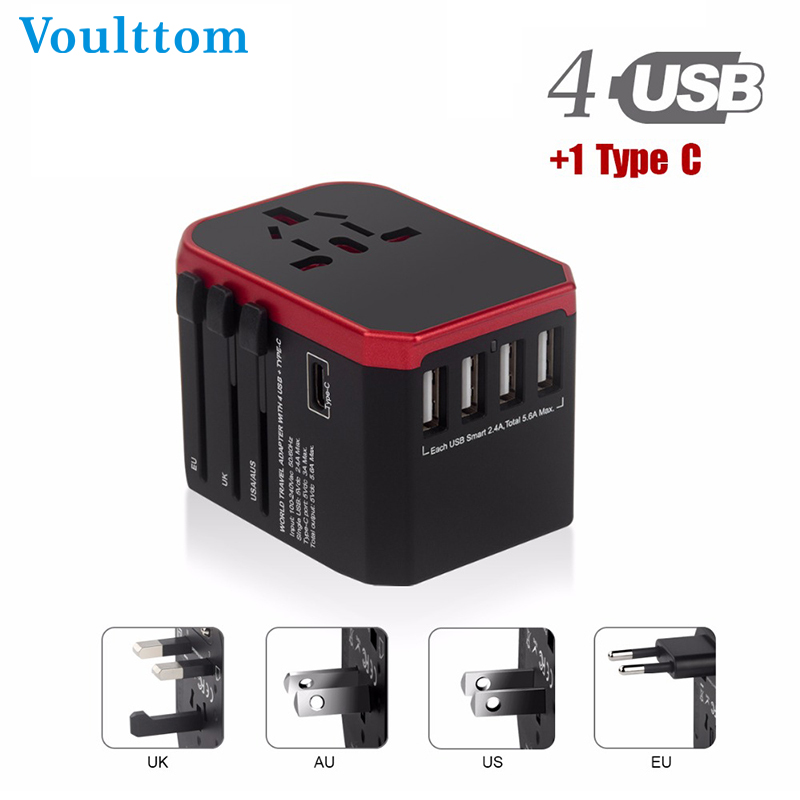 Voulttom Travel adapter UK AU EU US 4in1 International Charge Adapter USB Type-C Charger Mobile Phone Cell Phone Universal adapt