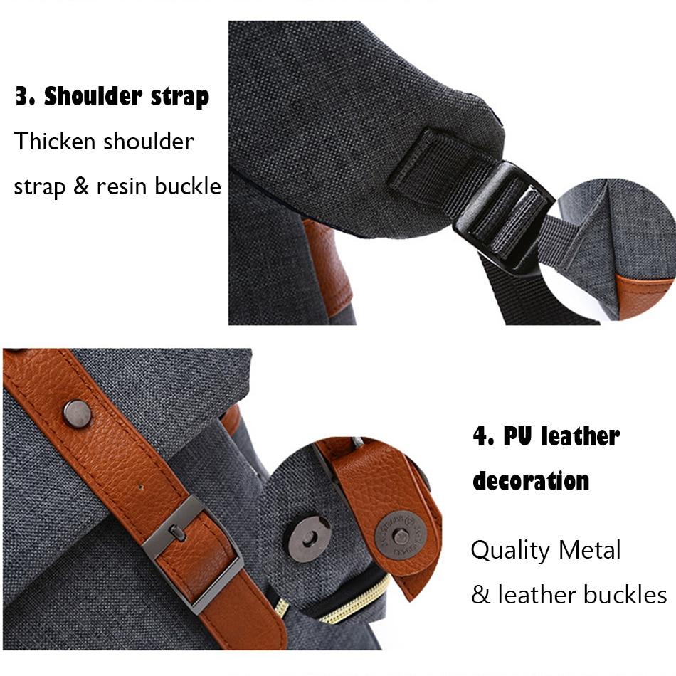 2018 Vintage Men Women Canvas Backpacks School Bags for Teenager Boys Girls Laptop Backpack with USB Charging Fashion Travel Bag (13)