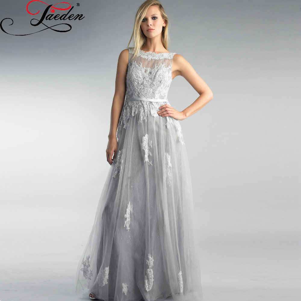 Discount Designer Evening Dresses: JAEDEN Custom Made Long Appliques Lace Gray Evening