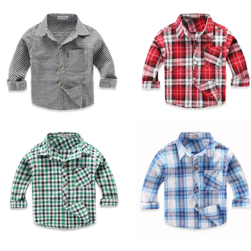 Spring Long Sleeve Boy's Shirts Casual Turn-down Collar Camisa Masculina Blouses for Children Kids Clothes Baby Boy Plaid Shirt long sleeve button down plaid midi flannel shirt dress