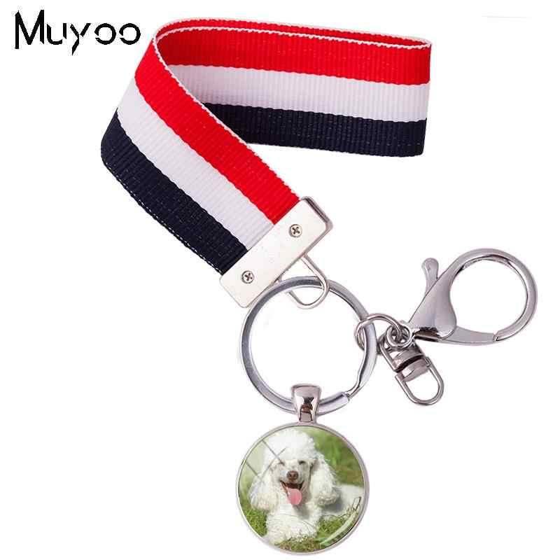 2018 חדש עיצוב פודל Keyrings לוויה כלב Keyrings סרט זכוכית צבעוני פס סרט Keychain תכשיטי עבור נשים