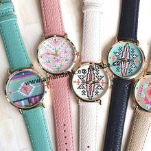 100 шт./партия, горячая распродажа, без логотипа, Aztec, стильные часы с принтом, женские мужские повседневные часы, модные кожаные Наручные часы