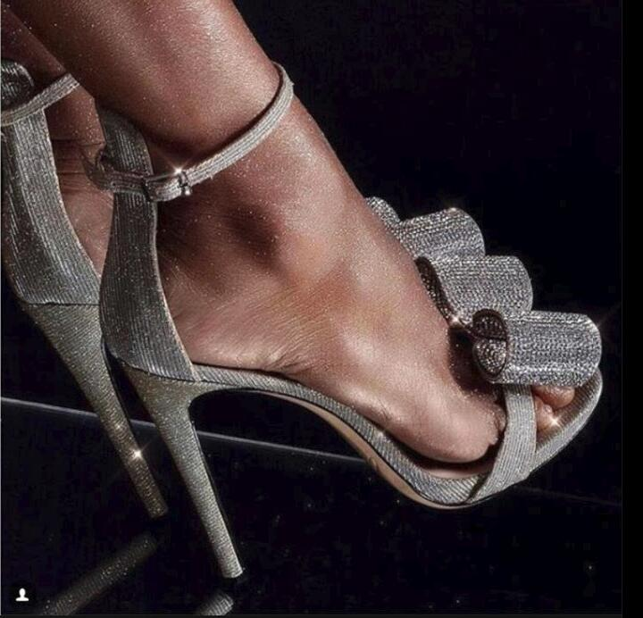 Trendy Silver Crystal Studded Bowtie Stiletto Heel Wedding Shoes Bride Covering Open Toe Dress Sandals Gladiator Sandals Women - 2