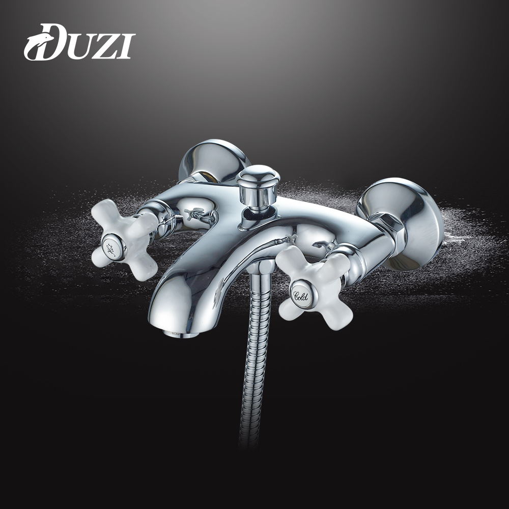 DUZI Brass Bath Faucets Wall Mounted Bathroom Basin Mixer Tap Crane With Hand Shower Head Chrome Bath & Shower Faucet Sets D6109 chrome polished rainfall solid brass shower bath thermostatic shower faucet set mixer tap with double hand sprayer wall mounted