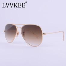 LVVKEE brand designer top quality Aviator glass lenses sunglasses Men women brown G15 Gradient 58mm lens sun glasses UV400 100% стоимость