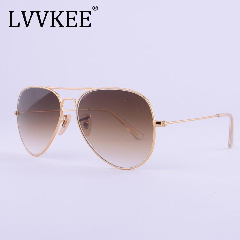LVVKEE brand designer top quality glass lenses sunglasses Men women 3025 brown G15 Gradient 58mm lens sun glasses UV400 100%
