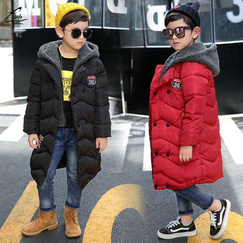 FYH Kids Clothing Winter Boys Hooded Long Parkas Big Boys Warm Down Coat Thickening Outerwear School Children's Winter Jackets