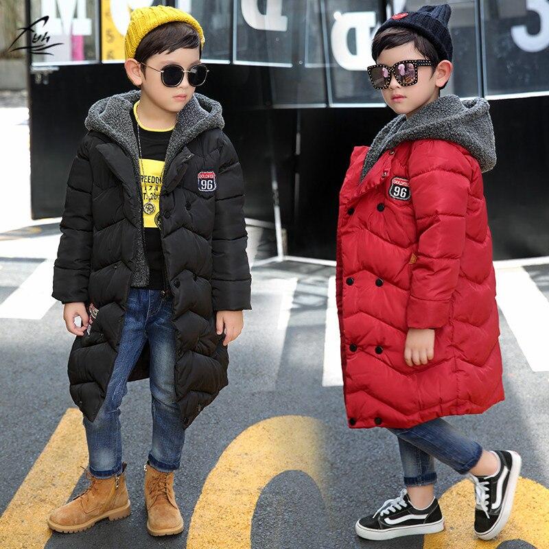 FYH enfants vêtements hiver garçons à capuchon Long Parkas grands garçons chaud vers le bas manteau épaississement vêtements d'extérieur école enfants vestes d'hiver
