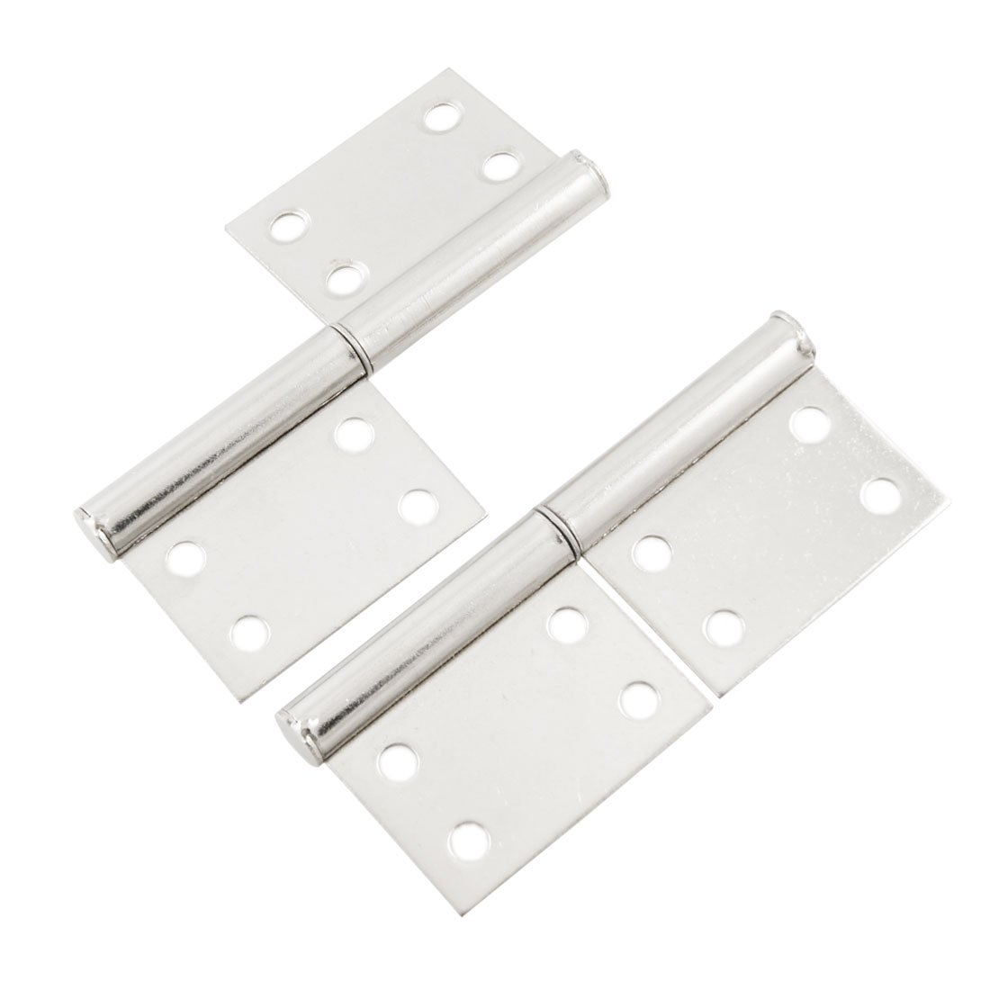 2pcs Silver Stainless Steel Window Gate Door Flag Hinges 9.4cm 50 percent off stainless steel gate door wall suction magnetic p41 strong resistance