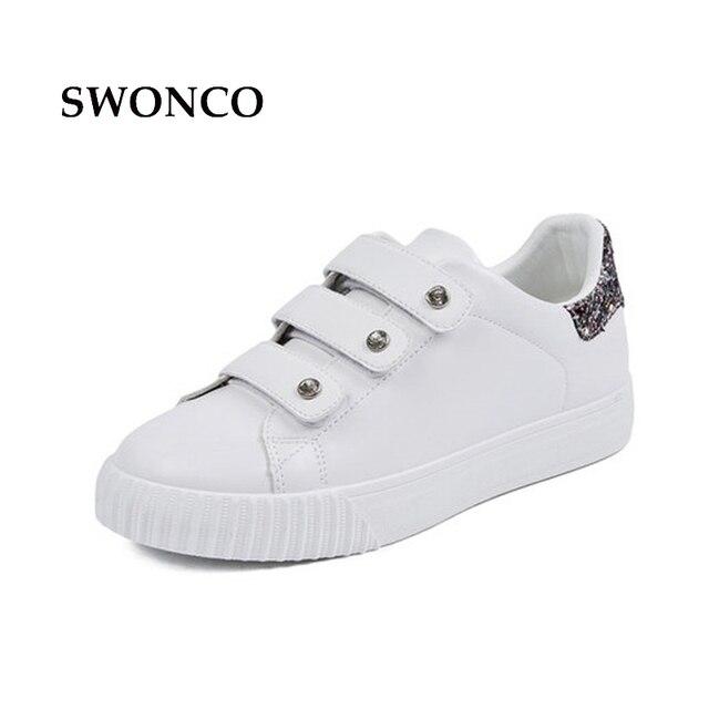 b04d726100c11 Swonco أحذية بيضاء الأحذية النسائية 2018 الربيع عارضة حذاء رياضة المرأة  أحذية رياضية موضة الترتر الإناث