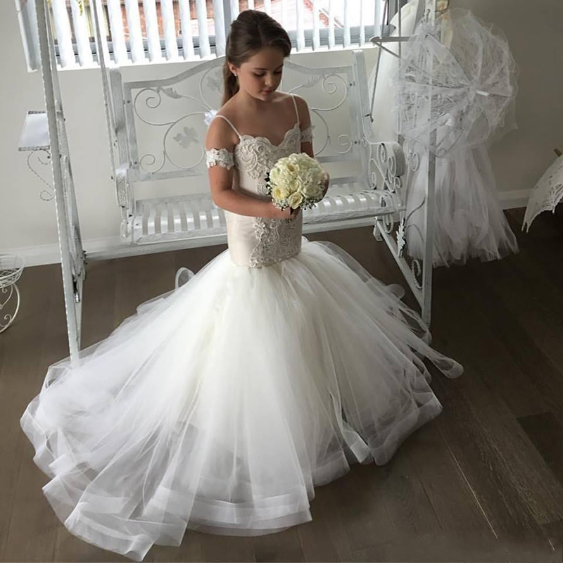 Little Flower Girl Mermaid Dresses With Train Spaghetti Straps Little Bride Dress Wedding First Communion White Kids Ball Gowns