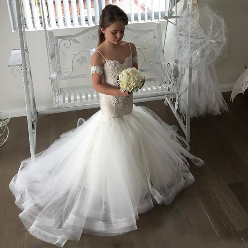 Little Flower Girl Mermaid Dresses With Train Spaghetti Straps Little Bride Dress Wedding First Communion White Kids Ball Gowns
