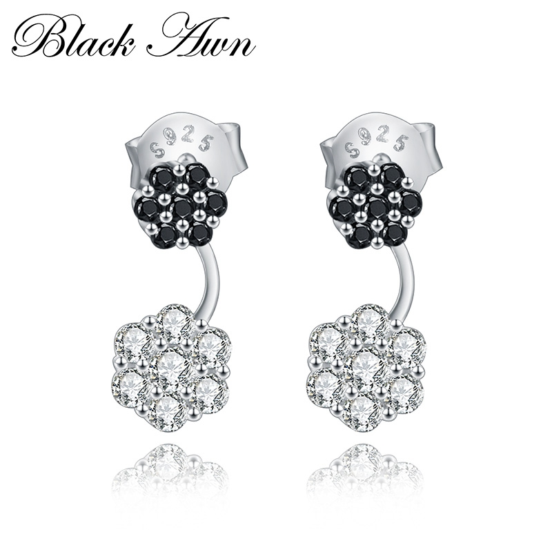 1,8g 100% 925 Sterling Silber Schmuck Blume Stud Ohrringe Für Frauen Schwarz & Weiß Silber Ewigkeit Stein Ohrring T167