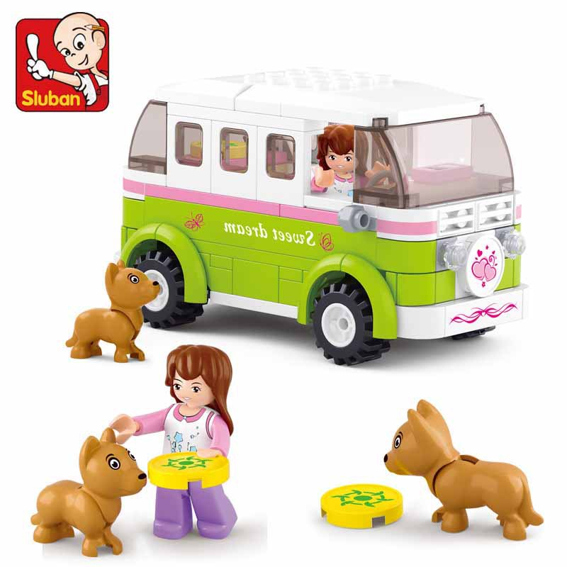 SLUBAN 158Pcs Pink Dream Station wagon Building Blocks set action figure Bricks Enlighten Toys For Children Gift brinquedos sluban pink dream girls
