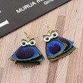 Best Fashion Bohemia Earrings Woman Earrings Ethnic Natural Blue Peacock Feather Earrings Owl Earrings For Women