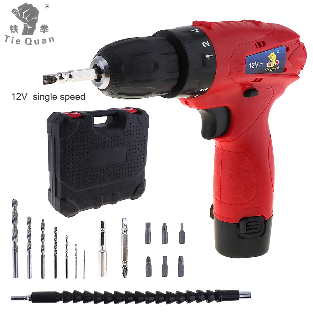 100 - 240V Cordless 12V Electric Drill / Screwdriver with  Plastic Box 15pcs Accessories Set for Handling Screws / Punching ricks motorsport electric cdi box 15 615