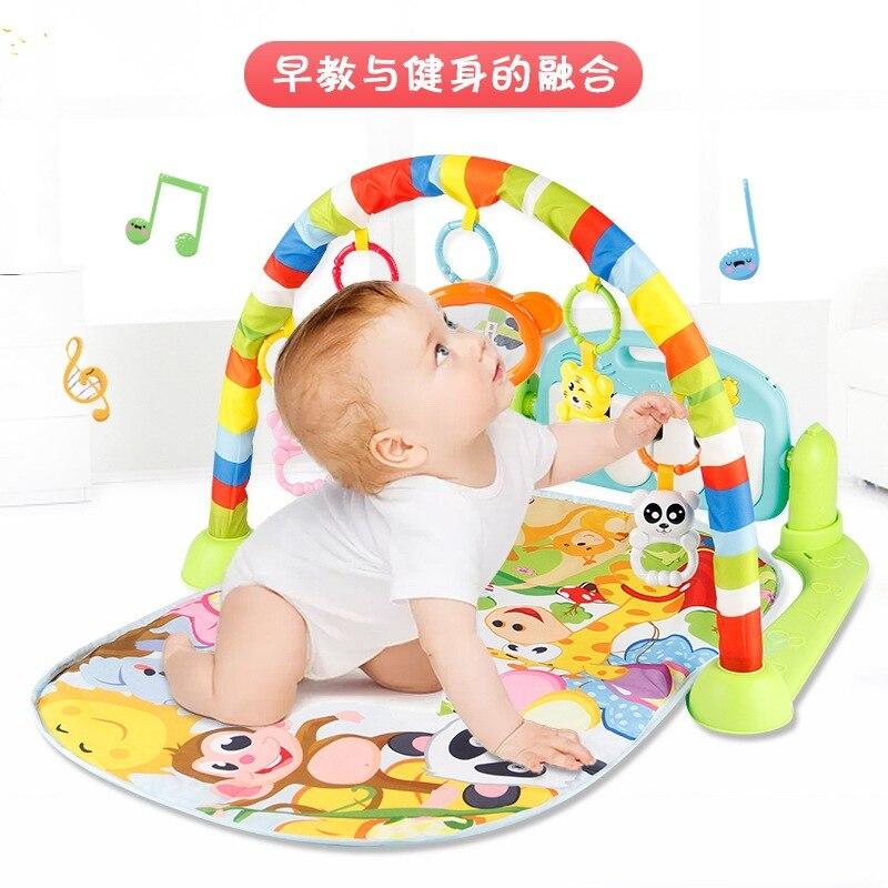 Bébé Fitness Gym cadre 0-18 mois tapis de jeu Juguetes petite enfance Interactive musique lumière ramper tapis de jeu Tapete Infantil