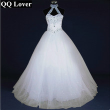 QQ Lover 2018 High Quality Sexy Halter Elegant White Wedding Dress With Video Luxury Crystal Vestido Vintage Plus Size Ball Gown(China)