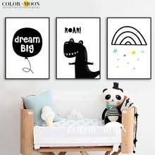 COLORMOON Dinosaur Dream Velké stěny Umělecká reprodukce Canvas Malba Severská plakát Černá Bílá Cartoon Wall Obrázky Dětské pokoje Domácí Dekorace