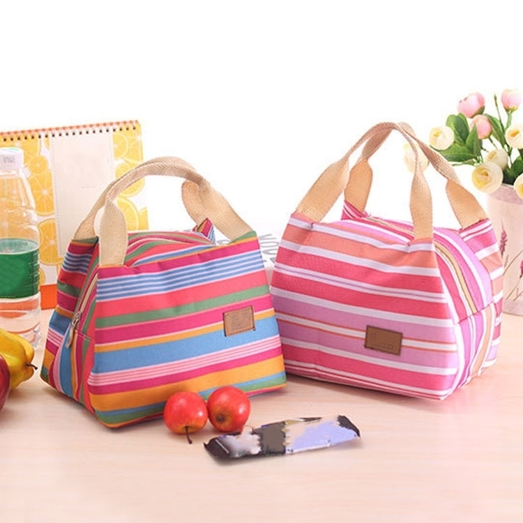 Insulated Lunch Bag Thermal Stripe Tote Bags Picnic Food Lunch box bag for Women Girls Ladies Kids aresland insulated lunch bag for women kids thermal cooler picnic food bags for women lady thicken cold insulation thermo bag