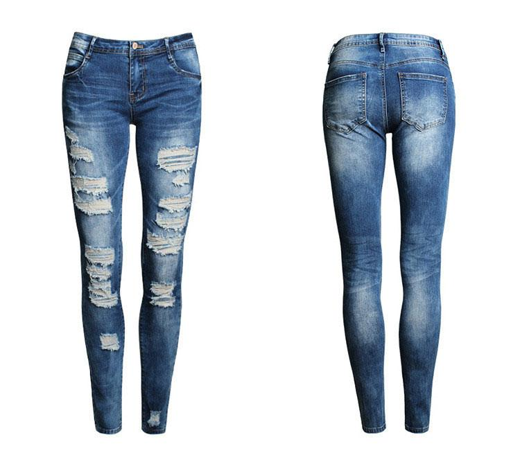 ФОТО New 2016 Hot Fashion Ladies Pants Stretch Womens Bleach Ripped Skinny Jeans