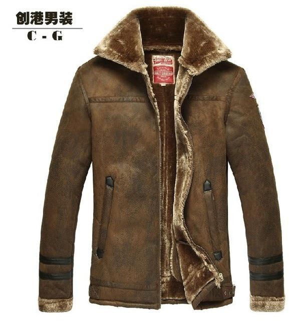 ГОРЯЧАЯ!!! бесплатная доставка мужская новый роскошный мех кожаная куртка, мужская кожаная куртка лацкан толстый бархат, Nordic Ввс, М-3XL