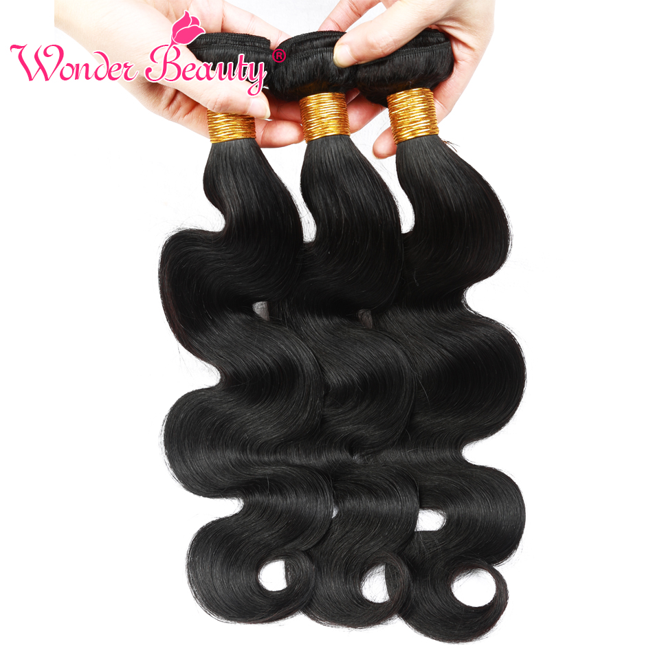 Wonder Beauty Maleisië Body Wave bundel deals niet-remy - Mensenhaar (voor zwart) - Foto 5