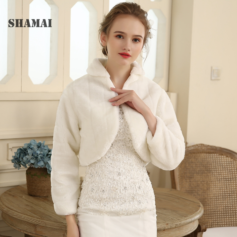 SHAMAI Shawl Wedding Wrap Formal Dress Cheongsam Pregnantwith Married Outerwear Bride Cape Ivory White Autumn Winter Jacket