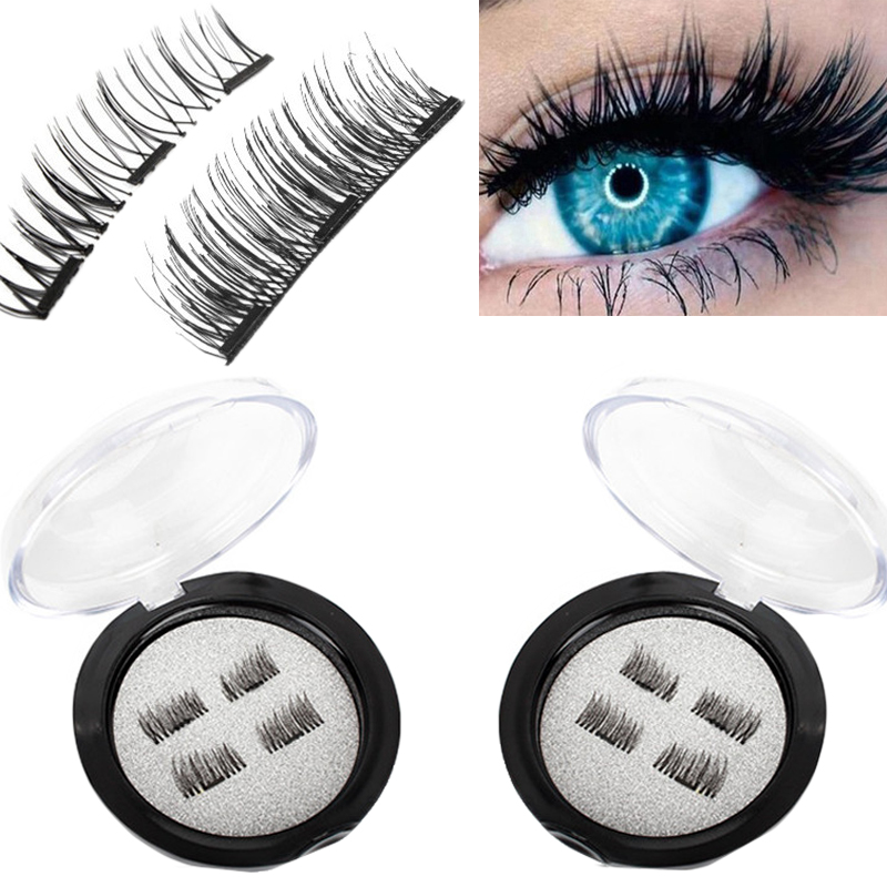 d2d3718f08a 4pcs/pair 3 Magnet 3D Magnetic Eyelashes Natural Thick False Eyelashes  Handmade Eye Lashes Extension Makeup Full Strip Lashes