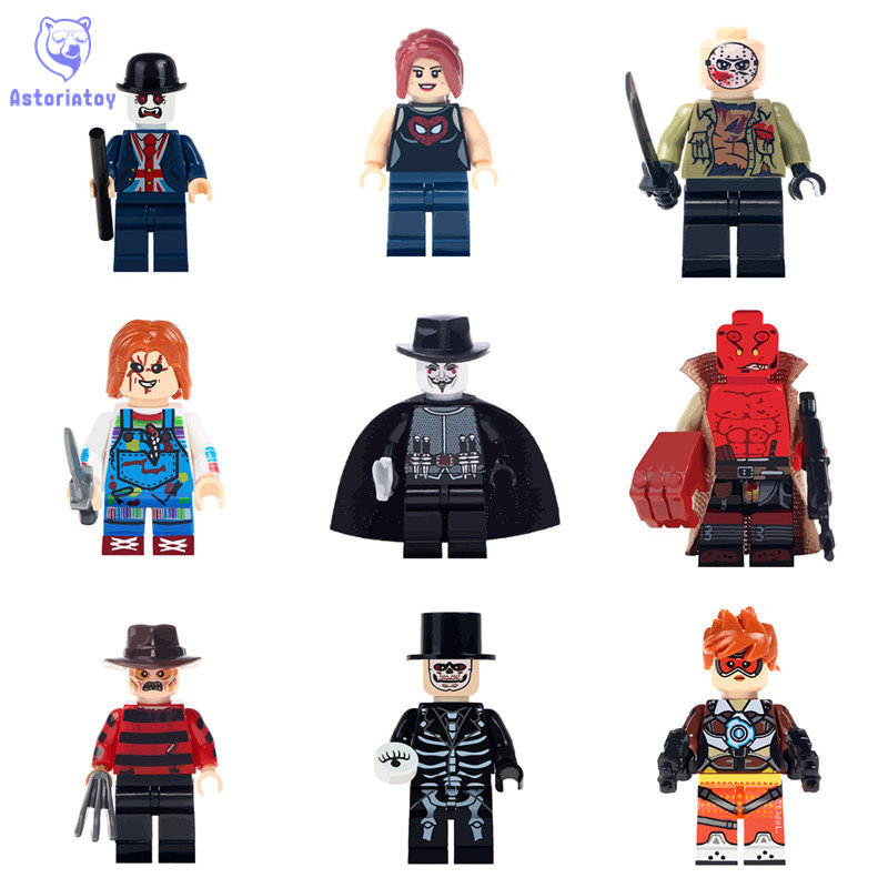 Hellboy Chucky  Freddy Krueger Of The Horror Theme Movie Jason Hockey Action Figures Building Blocks Children Gifts Toys