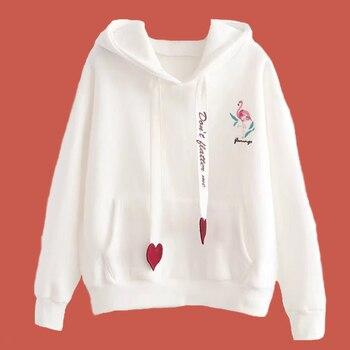 цена на Letter Print Ribbon Sweatshirt College Hoodie Poleron Mujer 2019 Flamingo Clothing Cute Pullover Kangaroo Pocket Hoodie Women