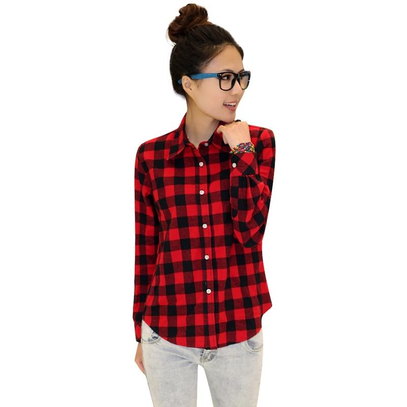 New Casual Button Down Lapel Neck Plaids Checks Flannel Shirts Women Long Sleeve Tops Blouse