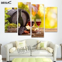 4 Panel HD Painting Canvas Prints Grape Wine Glass Bottle Wall Art Picture Home Decoration For